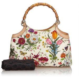 🆕 Gucci Bamboo Floral Handbag 👜